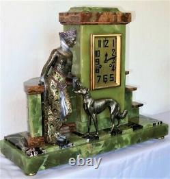 Superbe pendule garniture Art Deco Signée SCRIBE bronze onyx french clock