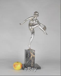 Superbe sculpture art déco Danseuse au tambourin 1930 Pierre Laurel