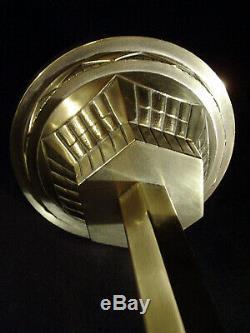 Suspension Moderniste Art Déco A Trois Feux En Bronze Et Verreries Pressées 1930