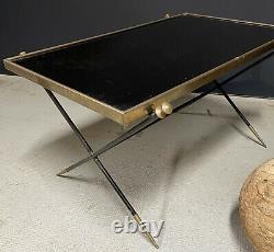 Table Basse Design Art Deco Moderniste 1950 Adnet Vintage Verre Bronze Ancien