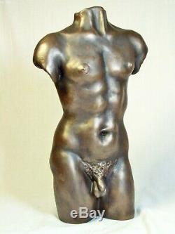 Torse homme nu, statue deco maison cadeau d'art, bronze coulé à froid