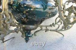 Très ancien lustre suspension en bronze à 6 bras. Porcelaine peint à la main