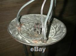 Très beau lustre Art Déco 4 feux en bronze nickelé et chromé signé Degué