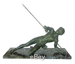 Très belle Sculpture en Bronze et Marbre Art Deco Le gladiateur sign SECONDO
