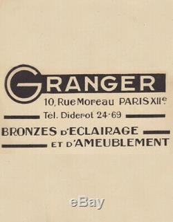 Y. Granger & Schneider Paire Dappliques Art Déco En Bronze Et Tulipes 1930